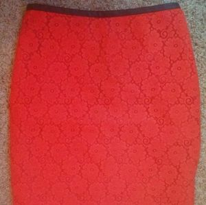 TopShop Coral floral Lace Pencil Skirt Size 6